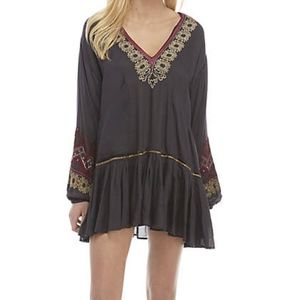 Free People Wild One Embroidered Black Mini Dress